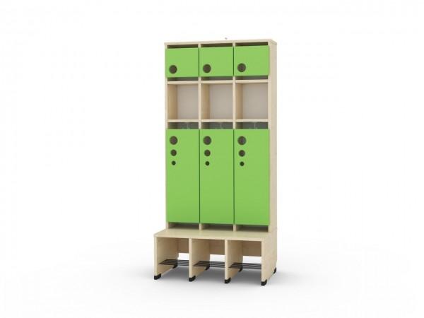 3er Maxi Garderobe mit Extrafach und Türen