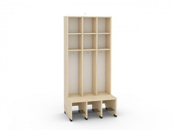 3er Maxi Garderobe mit Extrafach ohne Türen