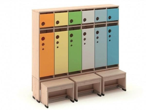 Garderobenschrank 6er mit Türen und Sitzbank 26cm