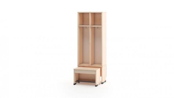 Garderobenschrank 2er ohne Türen mit Sitzbank 26cm