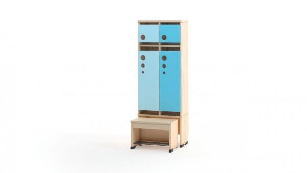 Garderobenschrank 2er mit Türen und Sitzbank 31cm