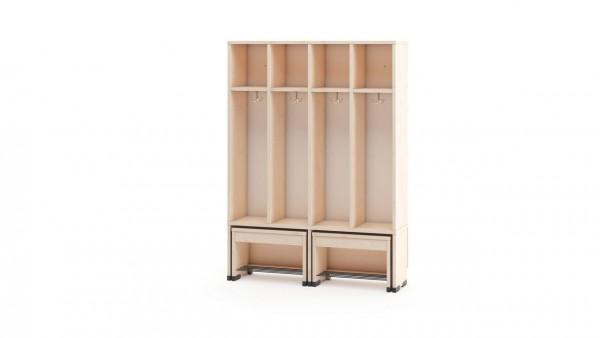 Garderobenschrank 4er ohne Türen mit Sitzbank 31cm