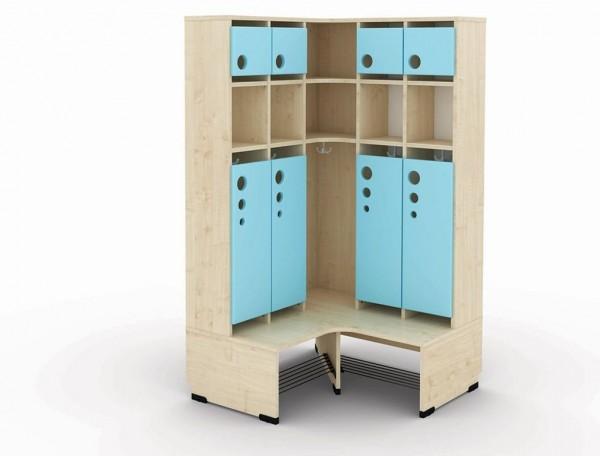 5er Maxi Eckgarderobe mit Extrafach und Türen