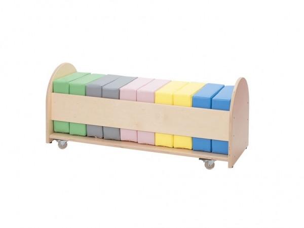 Set mit Aufbewahrungswagen & 10 Pastell Sitzkissen