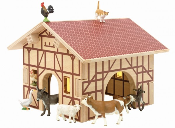 Bauernhof Set mit Holzkiste 6 tlg.