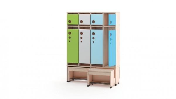 Garderobenschrank 4er mit Türen und Sitzbank 26cm
