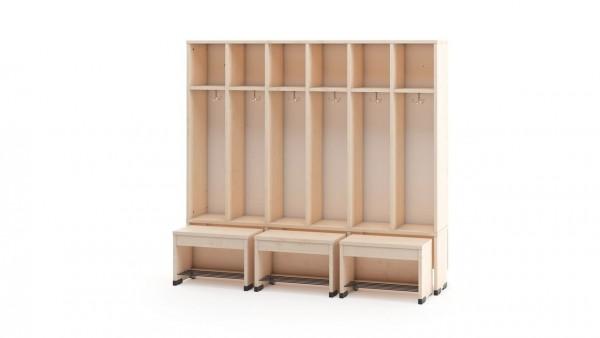 Garderobenschrank 6er ohne Türen mit Sitzbank 35cm