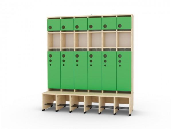 6er Maxi Garderoben mit Extrafach und Türen